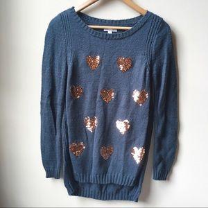 3/$18 LC Lauren Conrad sequin heart green sweater